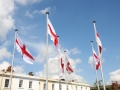 Flags of Saint George Waving Proudly on Community Square, Gravesend